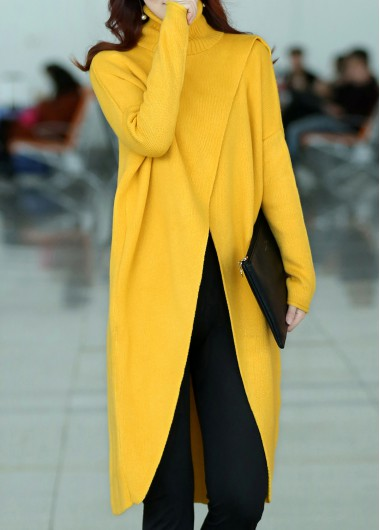 Long Sleeve Front Slit Turtleneck Yellow SweaterSweaters &amp; Cardigans<br><br><br>color: Yellow<br>size: S,M,L,XL,XXL,XXXL,4XL
