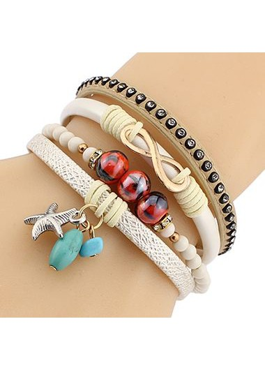 Bead Decorated Faux Leather Layered Bracelet