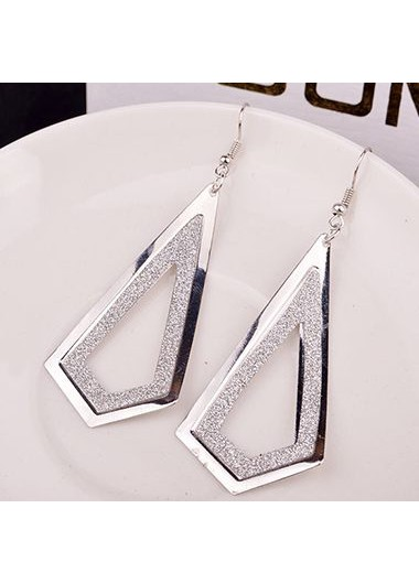 Frosted Silver Metal Geometry Shape Earrings for Woman