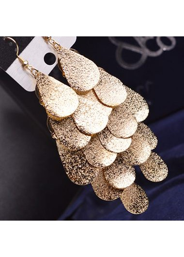 Metal Fish Scale Embellished Pendant Gold EarringsEarrings<br><br><br>color: Gold<br>size: One Size
