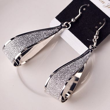 Water Drop Style Matting Silver Earrings