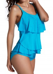 Strappy Tiered Top and Blue Panty Tankini Set