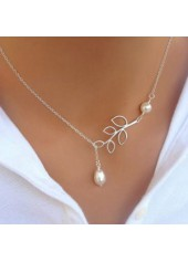 Leaf Shape Faux Pearl Embellished Silver Metal Necklace