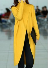 Long Sleeve Front Slit Turtleneck Yellow Sweater