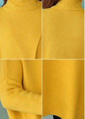 wholesale Long Sleeve Front Slit Turtleneck Yellow Sweater