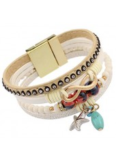 wholesale Bead Decorated Faux Leather Layered Bracelet