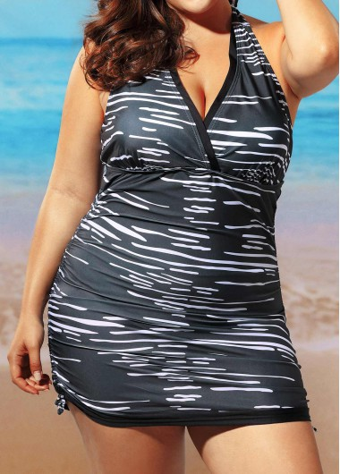 Plus Size Halter Neck Striped SwimwearSwimwear<br><br><br>color: Black<br>size: L,XL,XXL,XXXL