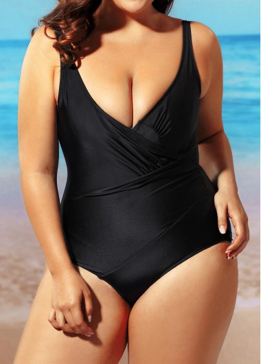 Open Back Solid Black One Piece Swimwear