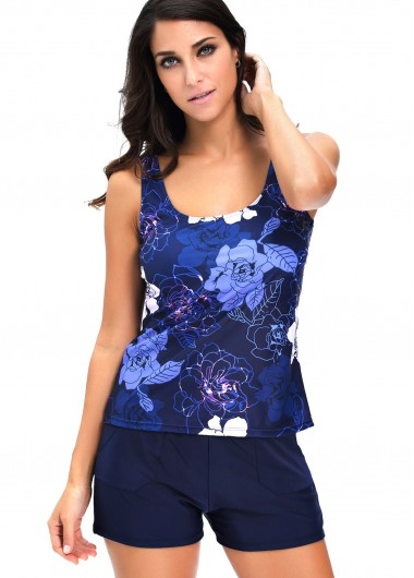 Round Neck Flower Print Top and Shorts