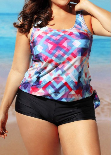 Printed Top and Black Shorts SwimwearSwimwear<br><br><br>color: Blue<br>size: L,XL,XXL,XXXL