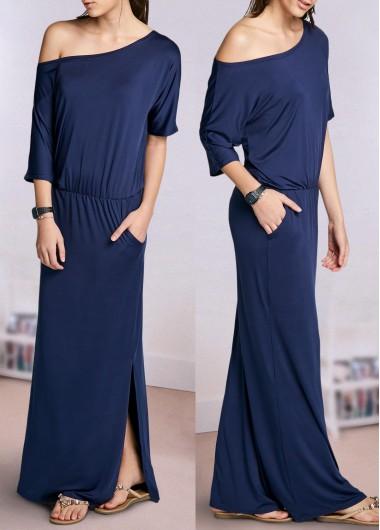 Buy Navy Blue Slit Design Maxi Dress