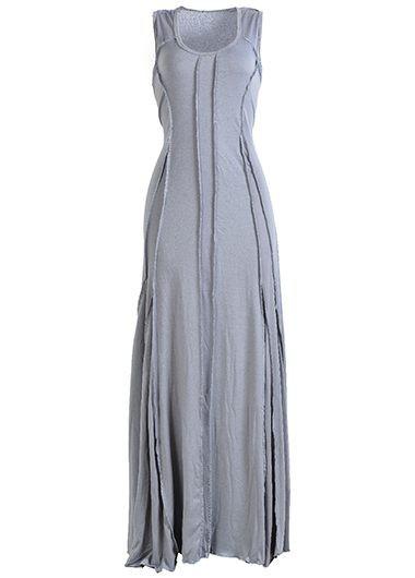 Grey Round Neck Sleeveless Maxi Dress