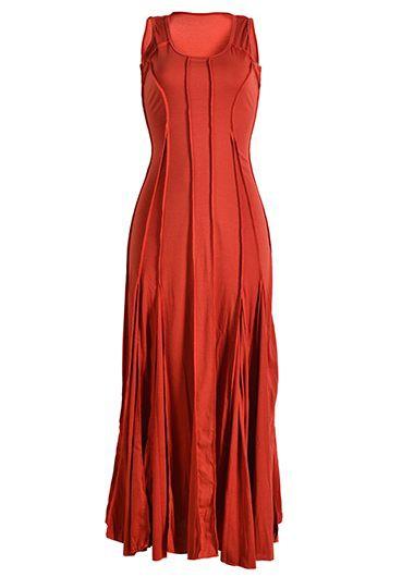 Round Neck Sleeveless Pleated Maxi Dress