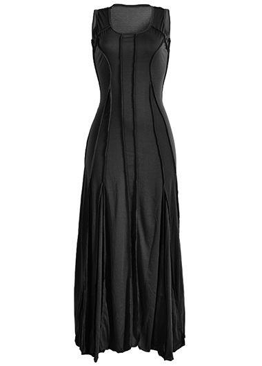 Black Round Neck Sleeveless Maxi Dress