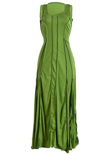 Round Neck High Waist Sleeveless Maxi DressMaxi Dresses<br><br><br>color: Green<br>size: S,M,L,XL,XXL,XXXL