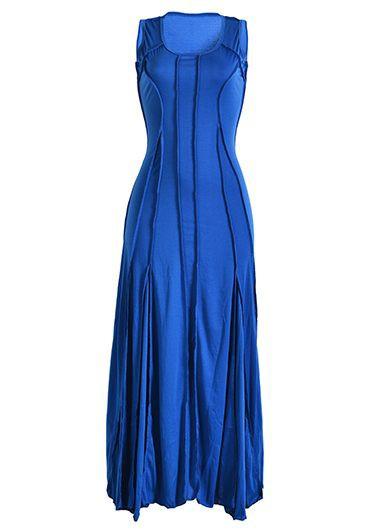 High Waist Sleeveless Royal Blue Maxi Dress