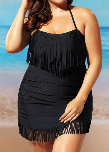 Halter Neck Tassel Embellished Swimdress and Black Panty