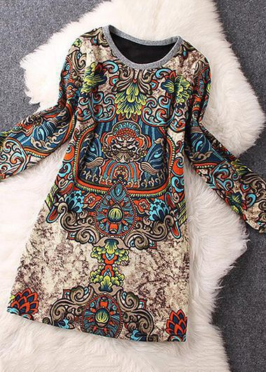 Long Sleeve Round Neck Printed Mini DressPrint Dresses<br><br><br>color: Apricot<br>size: S,M,L,XL,XXL