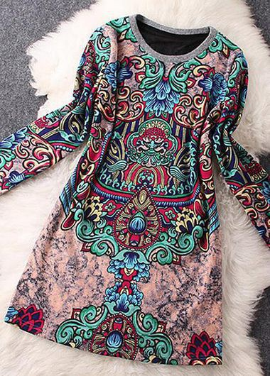 Printed-Long-Sleeve-Round-Neck-Straight-Dress
