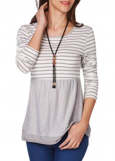 Long Sleeve Stripe Print Round Neck T Shirt
