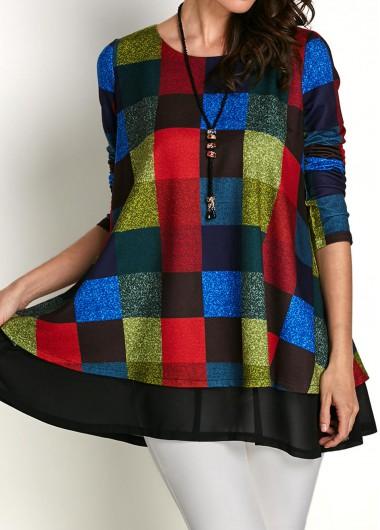 Plaid-Print-Mesh-Panel-Long-Sleeve-Blouse