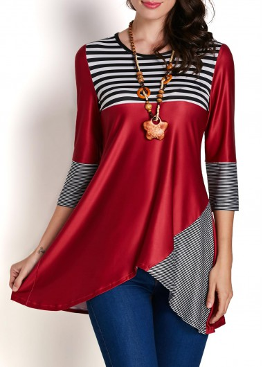 Stripe Print Asymmetric Hem Patchwork BlouseBlouses &amp; Shirts<br><br><br>color: Red<br>size: S,M,L,XL,XXL