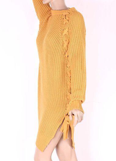 Double Slit Long Sleeve Lace Up Sweater Dress