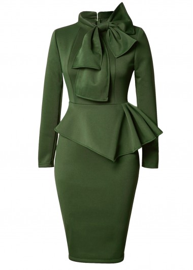 Peplum Waist Bowknot Embellished Army Green DressBodycon Dresses<br><br><br>color: Army Green<br>size: S,M,L,XL,XXL
