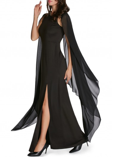 Front-Slit-Cape-Sleeve-Solid-Black-Maxi-Dress