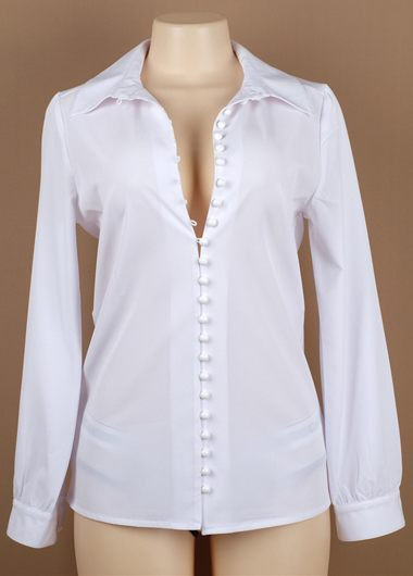 Turndown Collar Long Sleeve White ShirtBlouses &amp; Shirts<br><br><br>color: White<br>size: S,M,L
