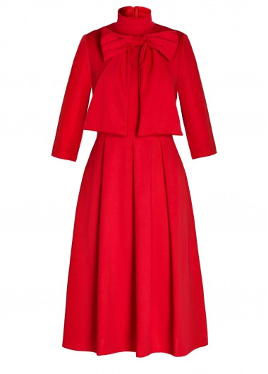 Three Quarter Sleeve Bowknot Embellished Red Dress