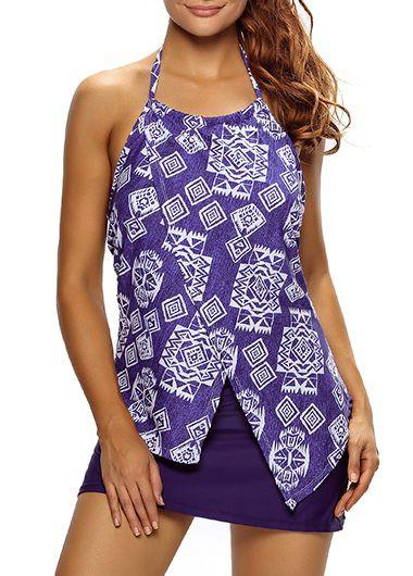 Front Split Halter Asymmetric Hem Printed Tankini TopSwimwear<br><br><br>color: Blue<br>size: S,M,L,XL,XXL,XXXL