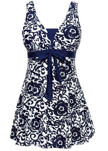 Printed-Open-Back-Bowknot-Embellished-Navy-Blue-Swimdress