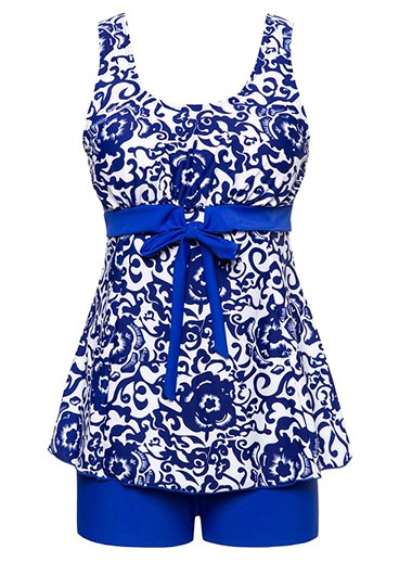 Royal Blue Bowknot Embellished Printed Tankini Set