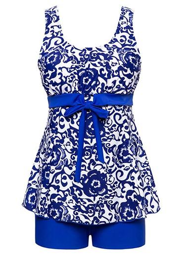 Royal Blue Bowknot Embellished Printed Tankini Set