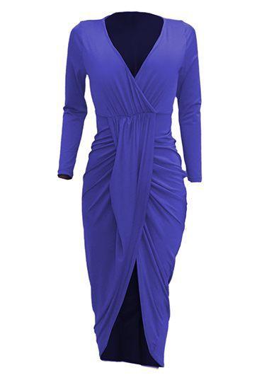 Asymmetric Hem V Neck Long Sleeve Ruched DressMaxi Dresses<br><br><br>color: Blue<br>size: S,M,L,XL