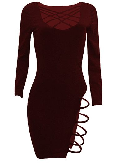 Wine Red Long Sleeve Cutout Bodycon Club Dress