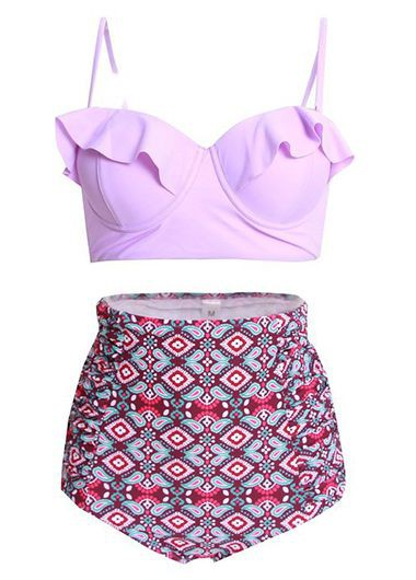 High Waist Spaghetti Strap Printed Two Piece SwimwearSwimwear<br><br><br>color: Pink<br>size: M,L,XL,XXL,XXXL,4XL