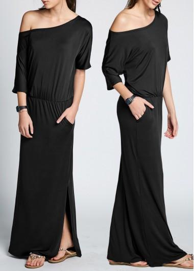 Buy Skew Neck Black Side Slit Dress