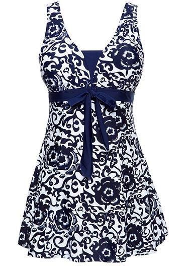Printed Open Back Bowknot Embellished Navy Blue Swimdress