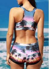 wholesale Print Scoop Neck Crop Top and Brief Set