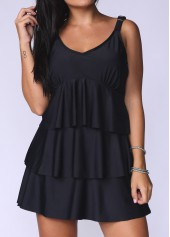 Layered Solid Black V Neck Swimdress