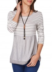 Long Sleeve Stripe Print Round Neck T Shirt