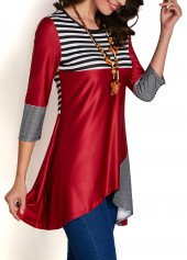 wholesale Stripe Print Asymmetric Hem Patchwork Blouse