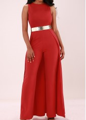 Sleeveless Solid Red Overlay Embellished Jumpsuit