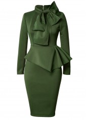 Peplum Waist Bowknot Embellished Army Green Dress