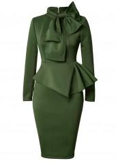 Peplum Waist Bowknot Embellished Army Green Dress