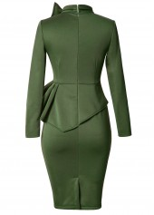 wholesale Peplum Waist Bowknot Embellished Army Green Dress