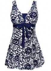 wholesale Printed Open Back Bowknot Embellished Navy Blue Swimdress