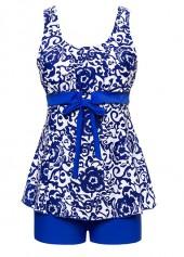 Royal-Blue-Bowknot-Embellished-Printed-Tankini-Set